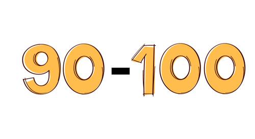 نمره 90 تا 100 در آزمون تافل